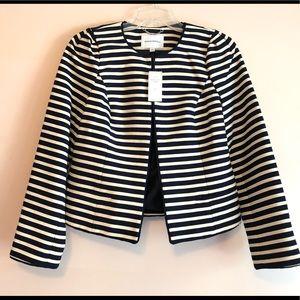 Banana Republic Navy Ivory Striped Tweed Blazer 6